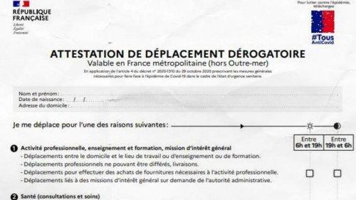 """Confinement : l'attestation """"de déplacement dérogatoire"""" à télécharger"""