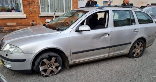 Driver high on drugs caught in battered car with flat tyres