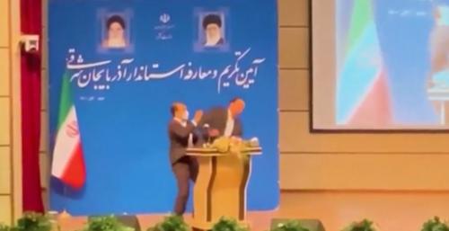 Un gouverneur iranien giflé en plein discours (vidéo)