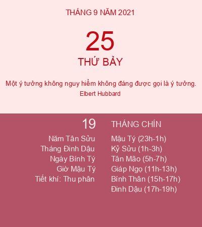 Lịch Âm Ngày 25 Tháng 9 Năm 2021 - Lịch Vạn Niên Hôm Nay 25/9/2021