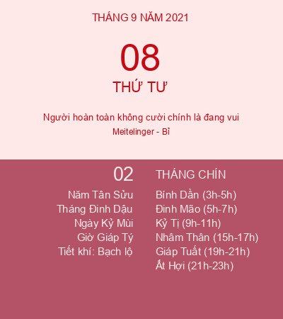 Lịch Âm Ngày 8 Tháng 9 Năm 2021 - Lịch Vạn Niên Hôm Nay 8/9/2021
