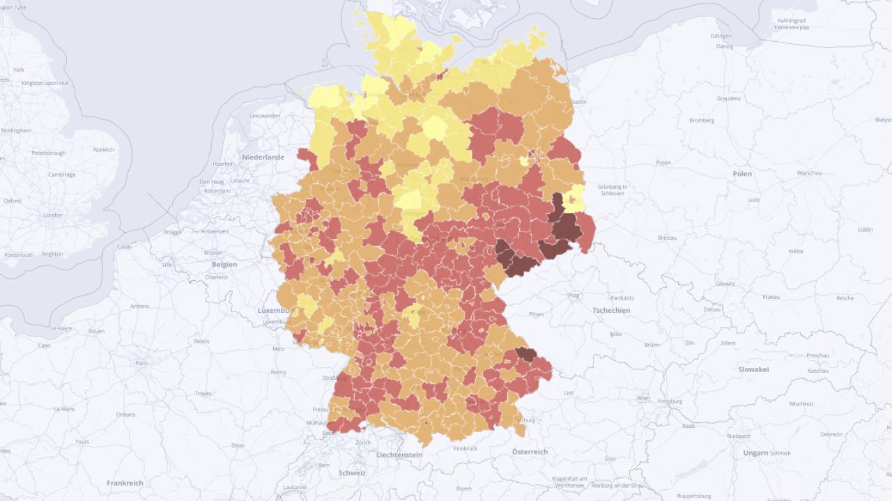 Deutschlandkarte der Coronavirus-Ausbreitung