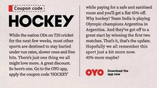 OYO launches print campaign celebrating hockey