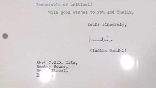 Indira Gandhi's letter to JRD Tata goes viral; Harsh Goenka says 'sheer class !'