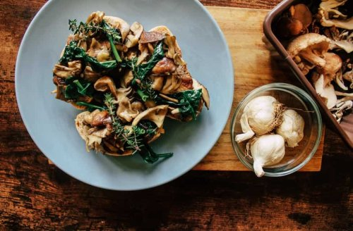A top chef's recipe of mushrooms on toast with almond cream