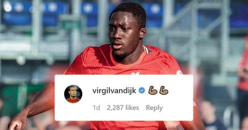 Ibrahima Konate sends two-word message to Virgil van Dijk which fans love
