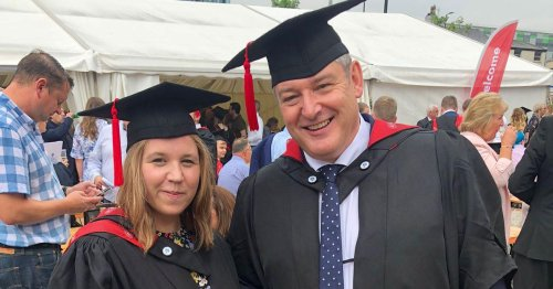 Dad and daughter graduate after completing same university course