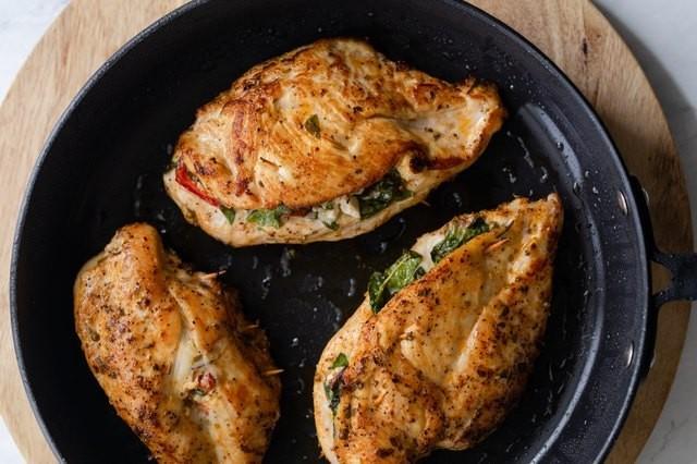 This Mediterranean-Stuffed Chicken Is the Perfect High-Protein Weeknight Dinner