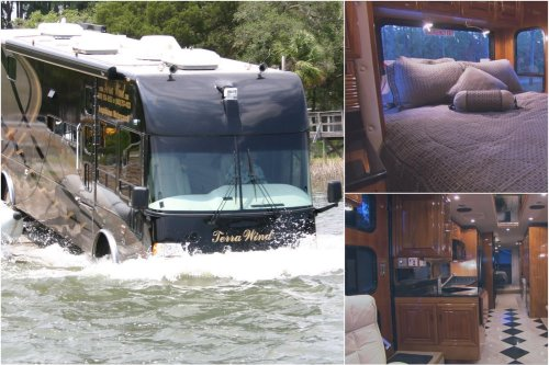 Complete with a jacuzzi, a master bedroom, granite countertops, and more – This $1.2 million amphibious Motorhome can you take you in utmost luxury on land and over water.