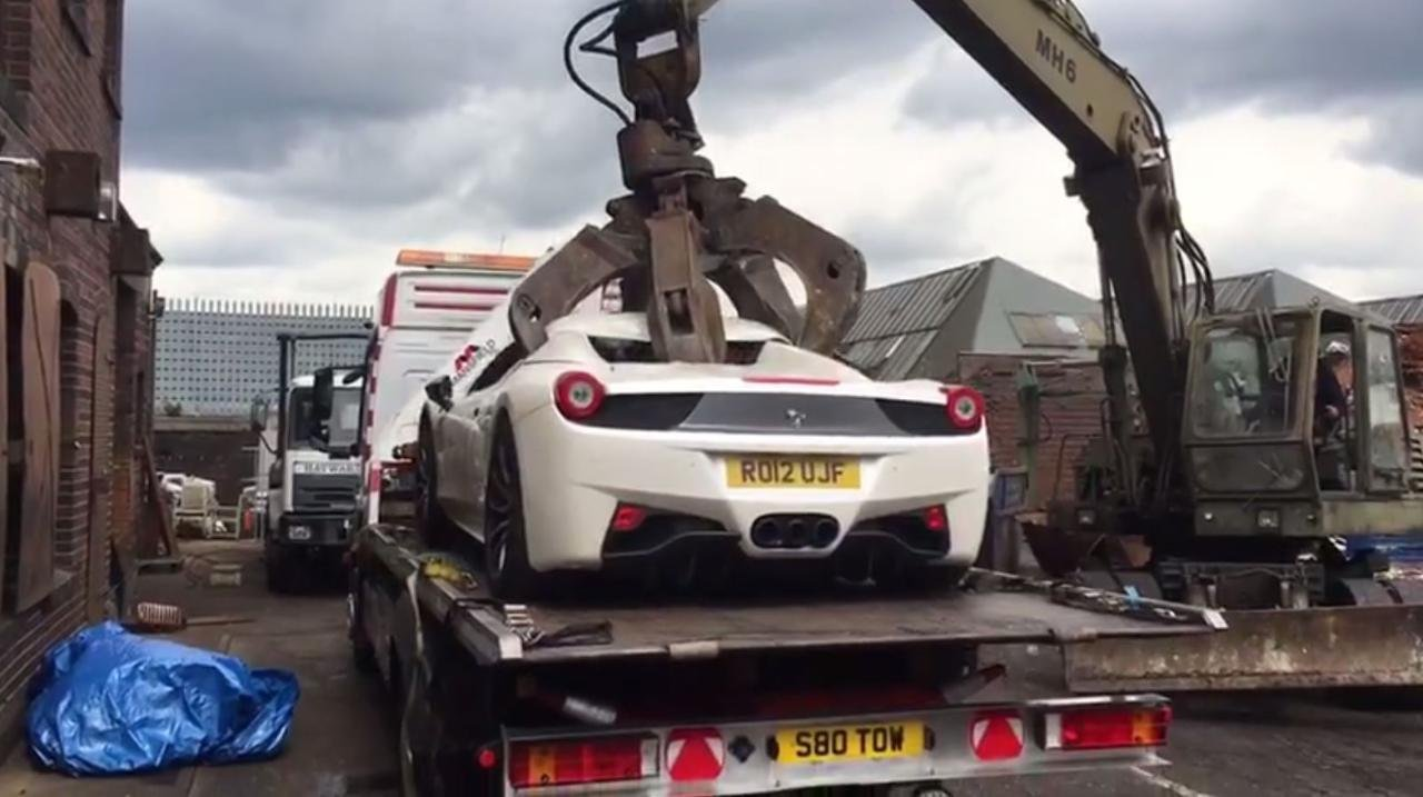 Watch: Police crush a $280K Ferrari 458 Spider confiscated from a rogue businessman
