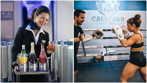 Unruly passengers are at an all-time high, so along with learning to serving caviar and bubbly, flight attendants are now training in self-defense as well.