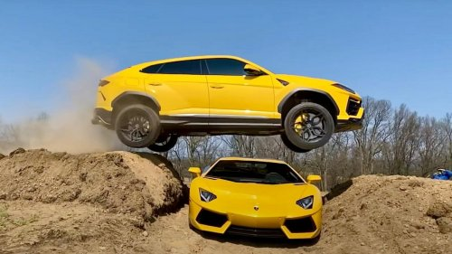 An ultra-rich Youtuber already facing 18 counts of criminal charges for his video of jumping a Ram TRX made another click magnet video of his to be wife's Lamborghini Urus SUV flying over his Aventador