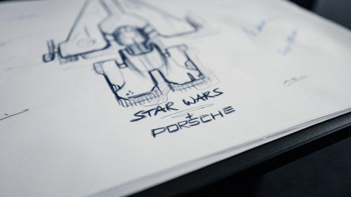 Porsche collaborates with Lucasfilm to create a Taycan-inspired starship for the Star Wars Galaxy