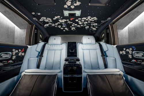 For the love of flowers – The custom Rolls Royce Rose Phantom has an exquisite hand-embroidered headliner with million stitches
