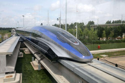 The fastest ground vehicle on earth – China has unveiled its maglev train that 'levitates' above the track and can travel at 600 km per hour (The equivalent of New York to LA in under 7 hours)