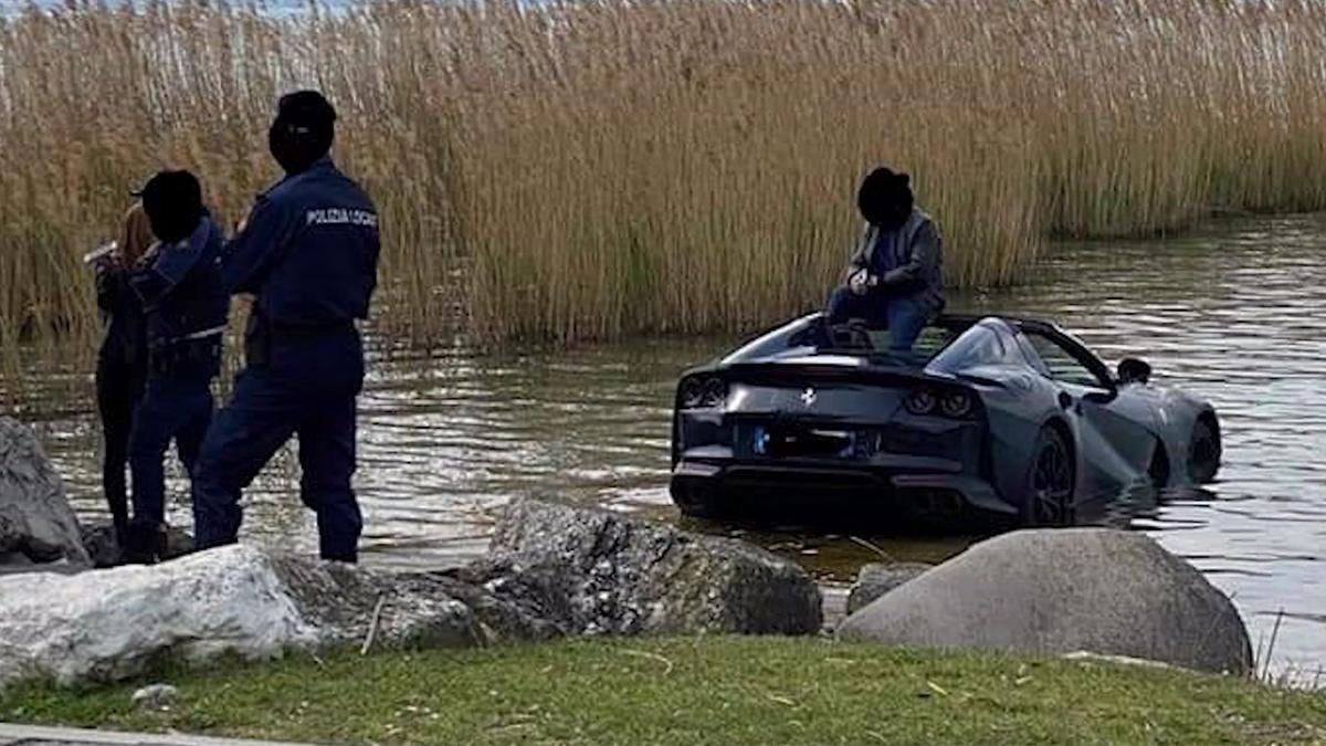 This $400,000 Ferrari 812 GTS ended up in an Italian lake after its owner forgot to apply the handbrake