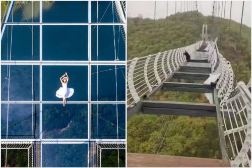 In a bone chilling incident, a multi million dollar glass bottomed bridge in China shatters to high speed winds leaving a tourist dangling 330 feet in the air