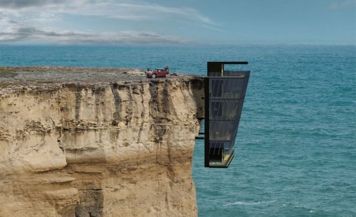 Suspended on a cliff above the Australian ocean this house is even cooler than Tony Starck's mansion
