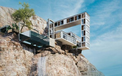 Perched on the side of a rocky cliff this gravity defying Tetris block shaped house is perfect for a daring millionaire