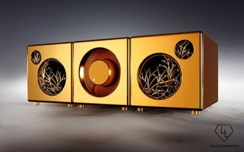 This one if its kind $5 mil sound system is made from 60kgs of gold and diamonds : Luxurylaunches