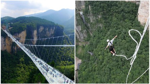 A spine-chilling plunge of 853 feet at the world's highest bungee platform in China. Built on one of the world's longest transparent suspension bridge it offers an adrenaline rush like no other.