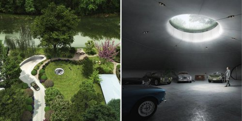 A wealthy car collector in Poland has built a Bond villain styled cave-like subterranean garage for vintage Aston Martins