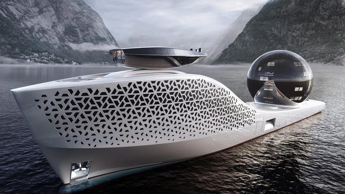 Powered by a nuclear reactor, this mammoth 984-foot Gigayacht will house 160 scientists that will work onboard 22 laboratories and a giant 'Science Sphere'