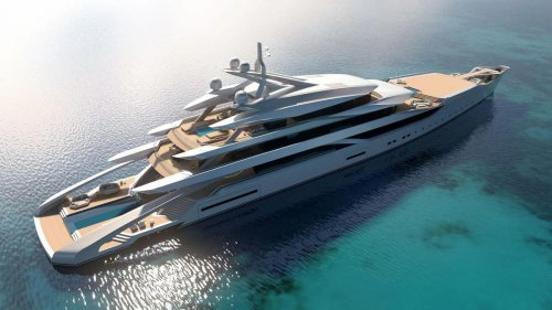 This gorgeous 367-foot superyacht concept comes with three pools, a beach club, and one-of-a-kind Amphi-Lounge for uninterrupted underwater views