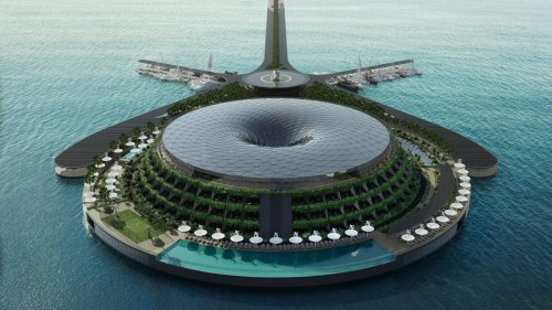 Qatar is planning to build a massive 152 room floating luxury resort that will spin to generate electricity