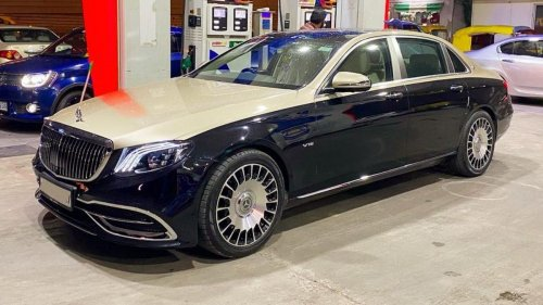 Believe it or not – This beautiful Mercedes-Maybach S560 is actually an E-Class long-wheelbase model fitted with a $1,500 Chinese body kit