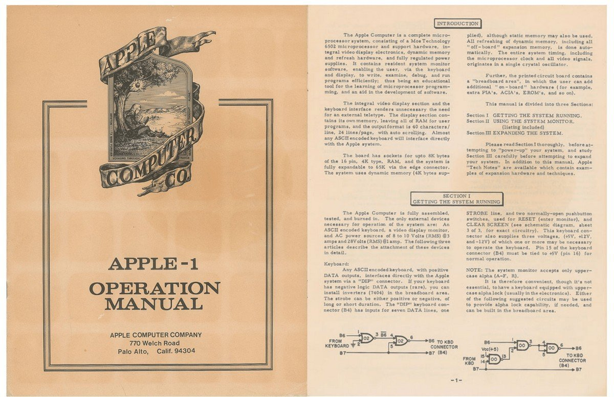 The original manual of the Apple 1 computer could fetch up to $10,000 in auction