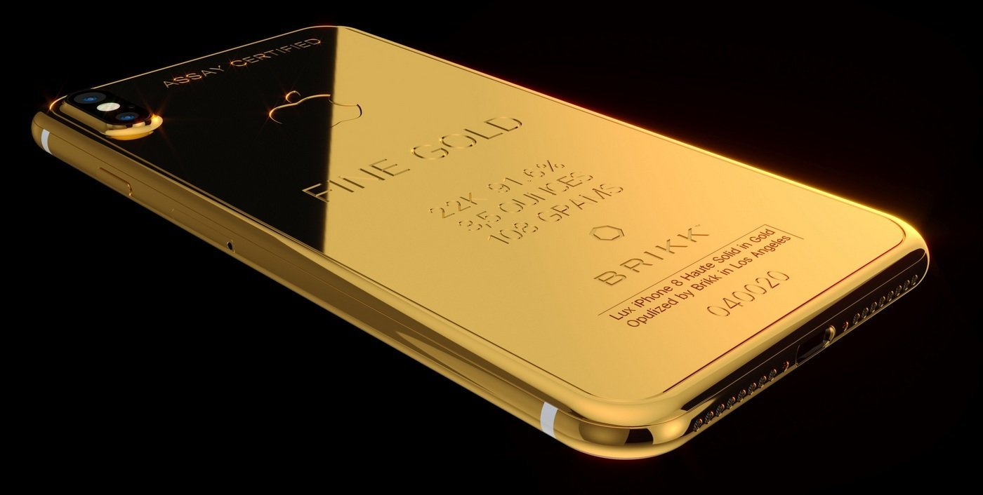Gold plated and diamond encrusted iPhone X from Brikk