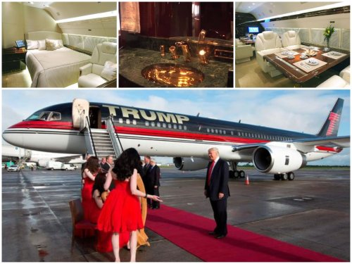Fitted with gold bathroom fittings and seat buckles, Donald Trump's prized $100 million Boeing 757 private jet is rotting away with an engine removed. Will Trump be flying commercial soon?