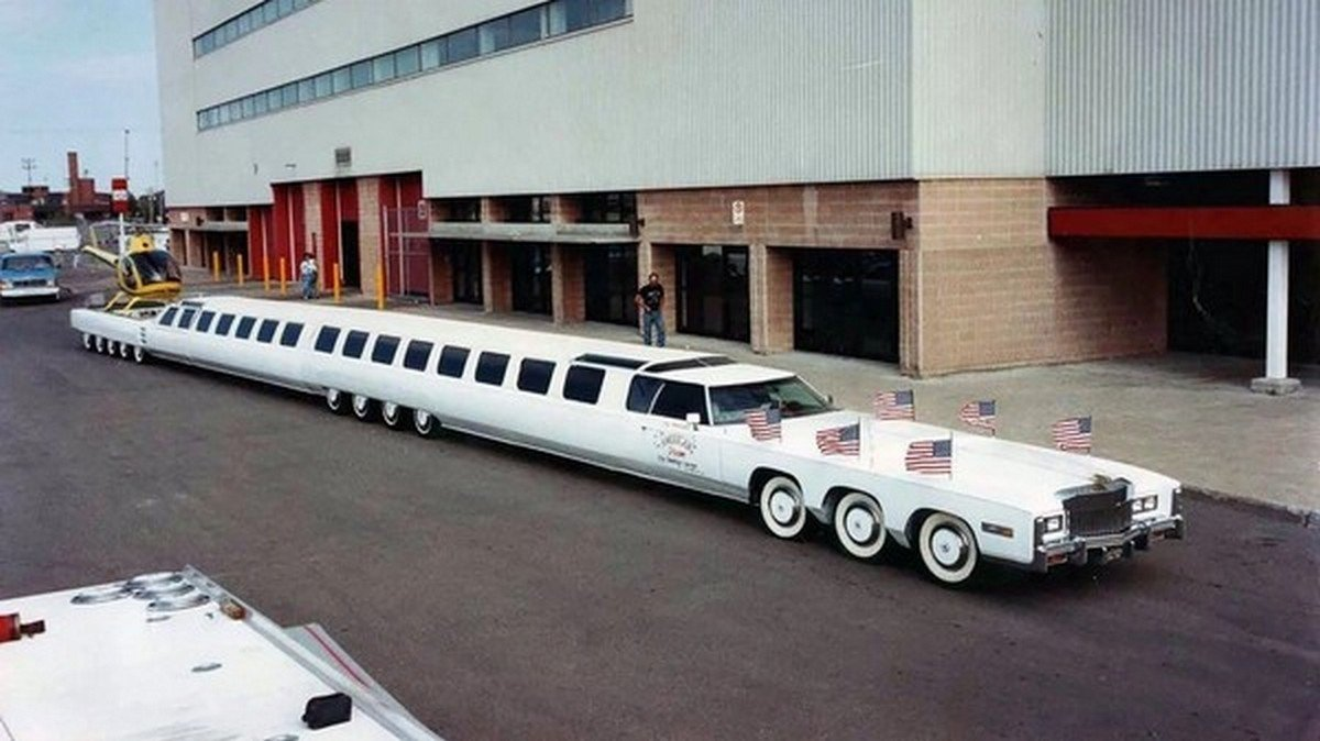 The mother of stretched limos - 26 wheels, a pool and even a helipad.
