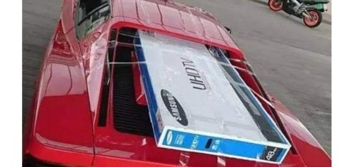 On a shopping trip, someone actually decided to take home a 48-inch LCD TV by taping it on the engine cover of their Ferrari Testarossa