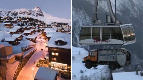Watch – Accessible only by a cablecar, this picturesque Swiss town has no cars, and even its garbage truck is transported by cables