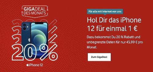 Vodafone GigaDeal: iPhone 12 (mini) radikal im Preis reduziert + 20 Prozent Rabatt auf Red-Tarife