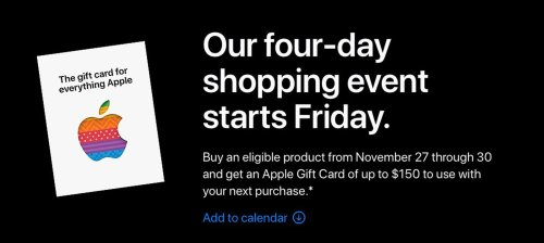 Apple Offering Up to $150 Gift Card With Select Products on Black Friday Through Cyber Monday