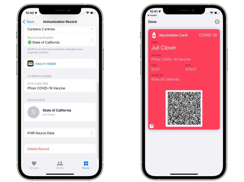 iOS 15.1 Lets Users Add COVID Vaccination Card to Wallet App