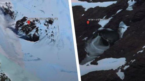 "UFOs? ""Google Earth""-Nutzer entdeckt mysteriöse Höhle in der Antarktis"
