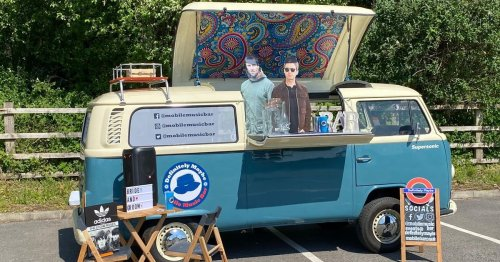 The Oasis-inspired camper van bar set up by a Gallagher