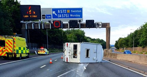Drink driving arrest as campervan overturns on M60 causing traffic chaos