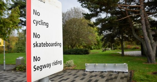 ''Burnham bikes' installed in area of Salford Uni - where cycling is BANNED