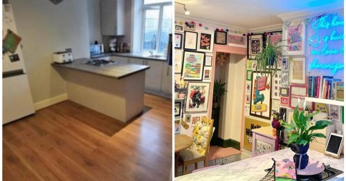 First-time buyer transforms dull kitchen into pastel paradise for under £250