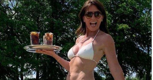 Davina McCall stuns fans in playful white bikini snap as she soaks up the sun
