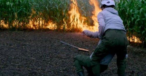 ITV Emmerdale spot glaring mistake in Meena and Andrea chase scene