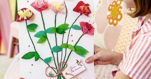 DIY Fête des mères : tutoriel pour réaliser un tableau fleuri avec du papier crépon