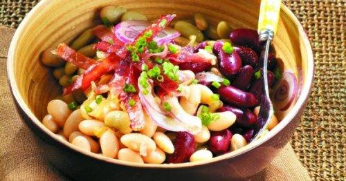 Salade aux trois haricots et au bacon