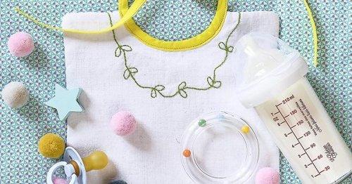 DIY bébé : tutoriel pour coudre et broder un bavoir en coton