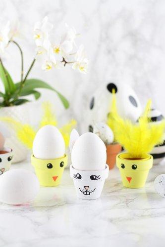 DIY-Eierbecher aus Tontöpfen in süßen Osterdesigns - Mary loves
